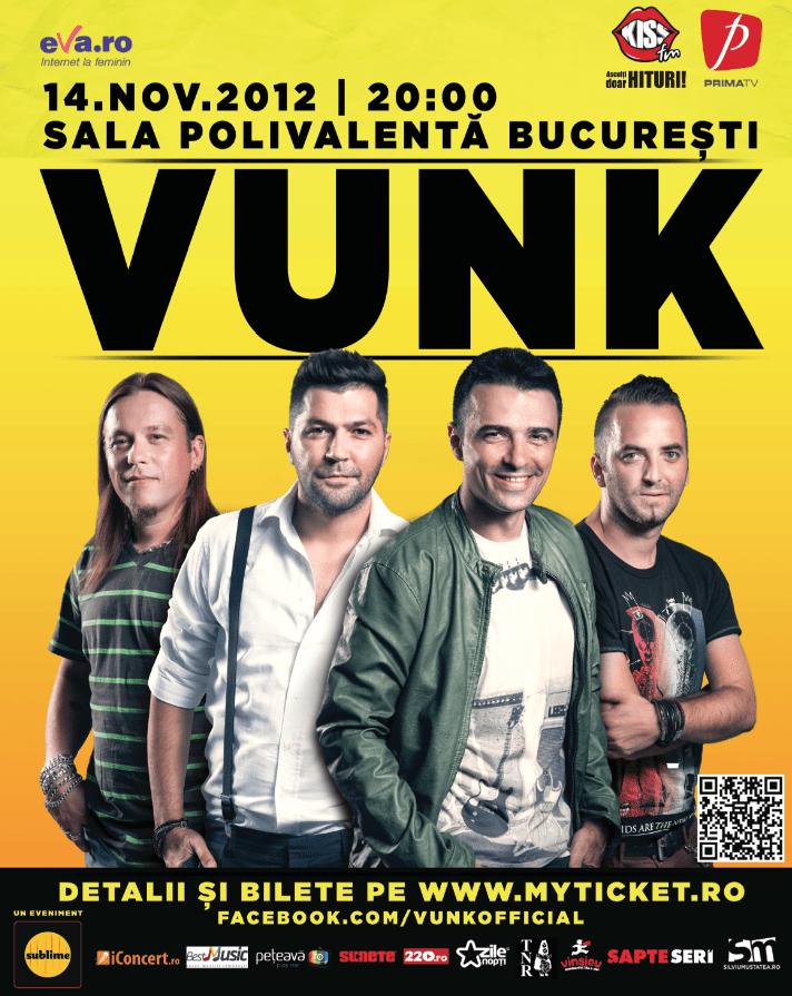 Câştigă 3 invitaţii duble la concertul VUNK din 14 noiembrie!