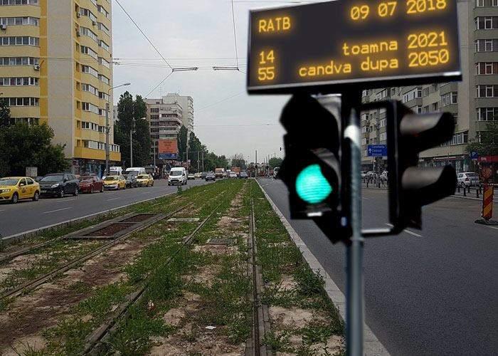 Proiect pilot în Capitală! Pe Bd. Pantelimon au fost instalate panouri care arată în ce an vine tramvaiul