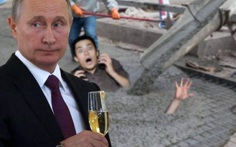 Putin face aleea celebrităților. Jurnaliștii, băgaţi cu mâinile în beton și lăsaţi acolo