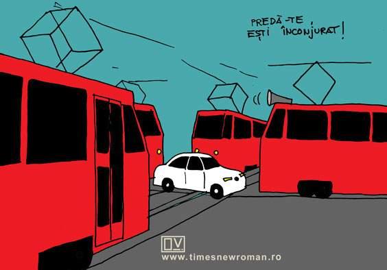 BMW-ul înconjurat