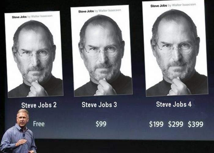 Biografia lui Steve Jobs va avea mai multe versiuni: SJ 1, SJ 2, SJ 3, SJ 4 şi SJ 4S