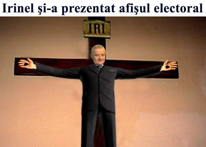 Imaginea Zilei: Irinel Columbeanu şi-a prezentat afişul electoral