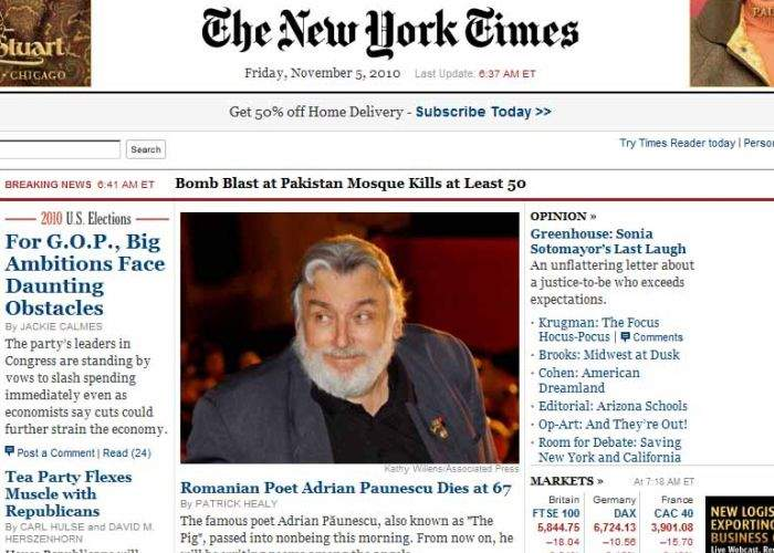 New York Times deplânge moartea poetului Adrian Păunescu