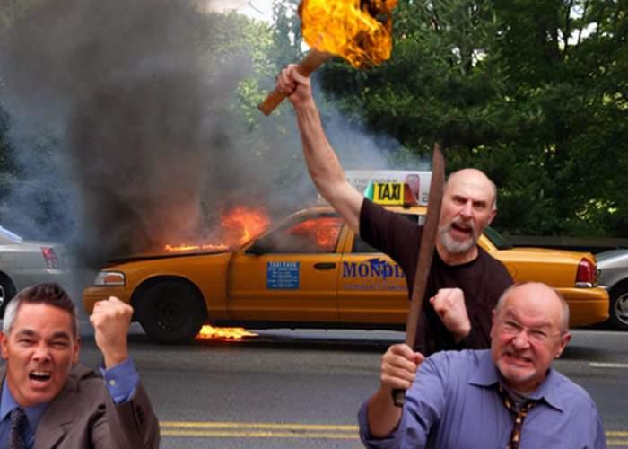 Protestul taximetriştilor, înăbuşit în sânge de bucureştenii care au mers o dată în viaţă cu taxiul