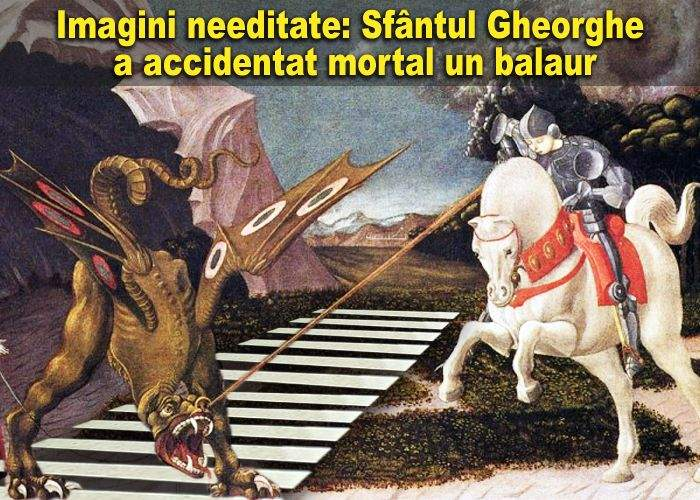 Sfântul Gheorghe a accidentat mortal un balaur care traversa regulamentar