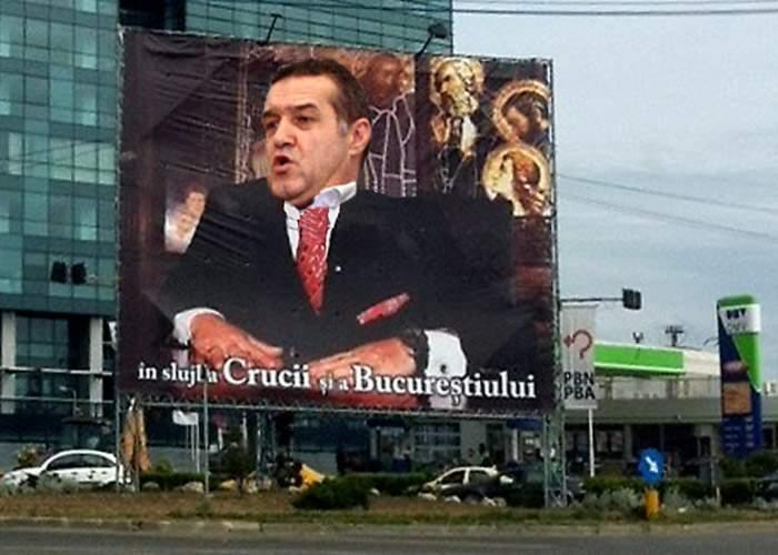 Miracol! Un afiş electoral cu Gigi Becali a început să înjure trecătorii!