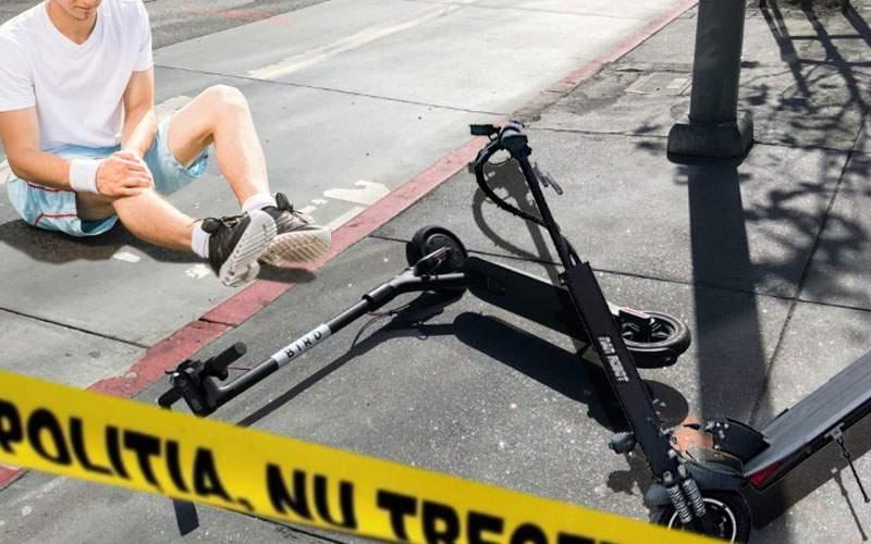 Carambol în Pipera! 40 de trotinete, implicate într-un accident pe trotuar