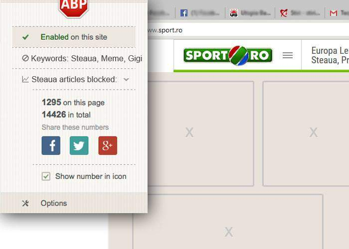 În sfârșit! AdBlock elimină acum și știrile despre Steaua de pe site-urile de sport