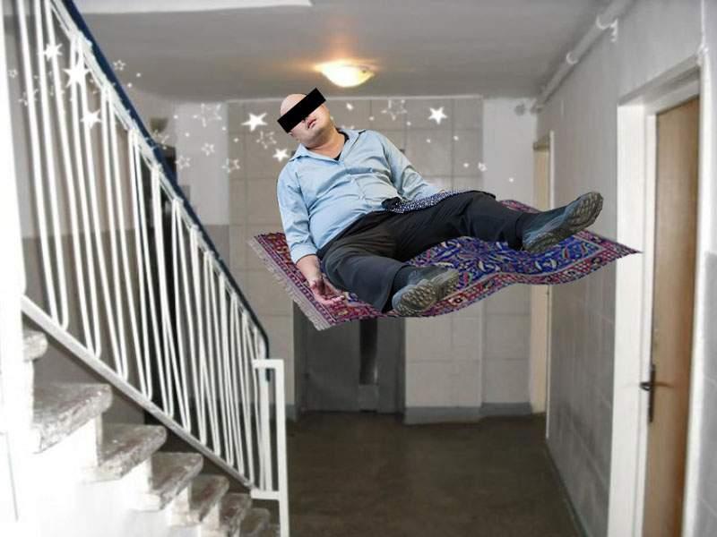 I se spune Aladin! Un bețiv din Berceni a zburat în seara asta cu preșul pe scări