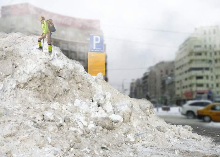 Un român căţărat pe un morman de zăpadă din staţia lui 131 spune că din vârf se vede marea