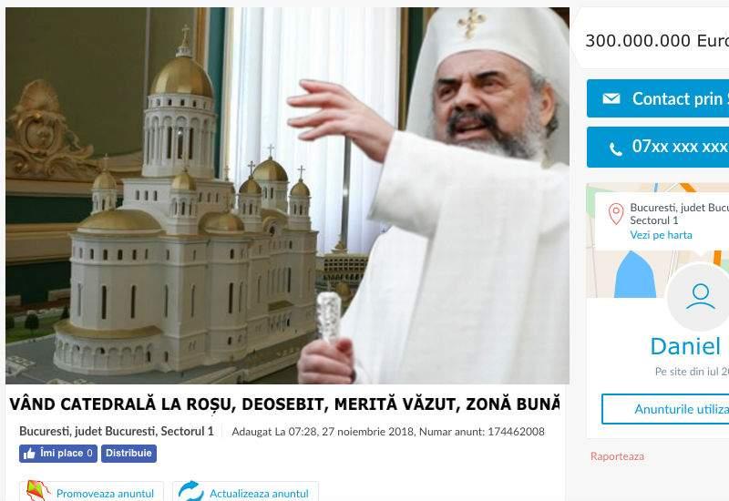 Patriarhul, tun imobiliar! Nici n-a terminat Catedrala şi deja a pus-o pe Olx