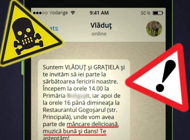 """Val de ţepe pe WhatsApp! Mii de români primesc invitaţii la nunţi, în care li se promite """"distracţie"""""""