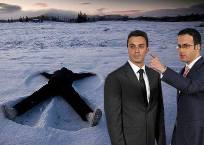 """Adaptare firească: pentru că zăpada s-a cam topit, Gâdea şi Badea fac """"îngeraşi"""" în căcat"""