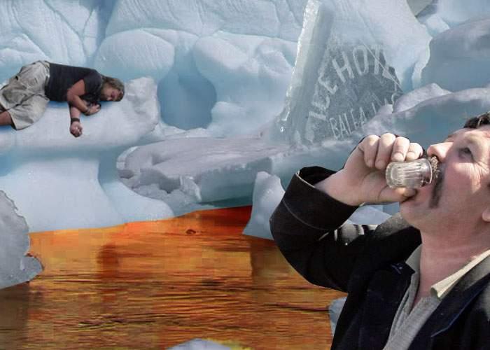 Sărbătoare la Bâlea Lac! Un zid al hotelului de gheaţă s-a prăbuşit în piscina de whisky