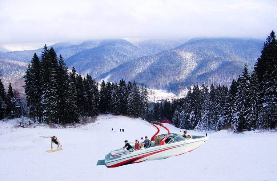 Sporturi extreme! Un român a distrus trei bărci pe pârtia Kalinderu încercând să facă schi nautic