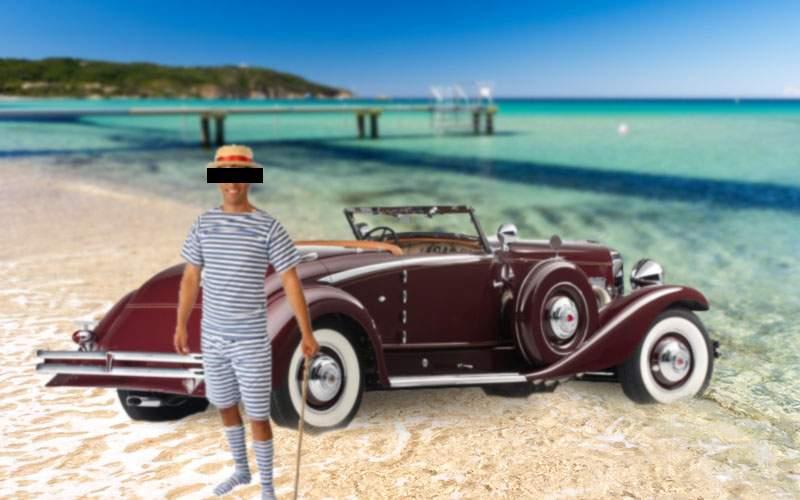 Baronul de Cocalarstein și-a împotmolit Duesenberg-ul din '35 pe plaja din St. Tropez