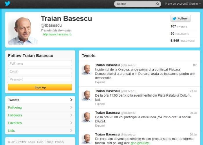 Traian Băsescu acuză SRI că-l urmăreşte pe Twitter