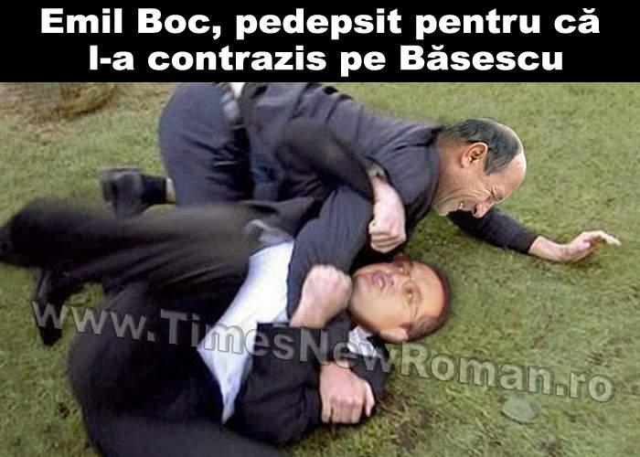 """Emil Boc, bătut de Băsescu pentru că i-a spus în glumă că """"Iarna îi ca vara"""""""