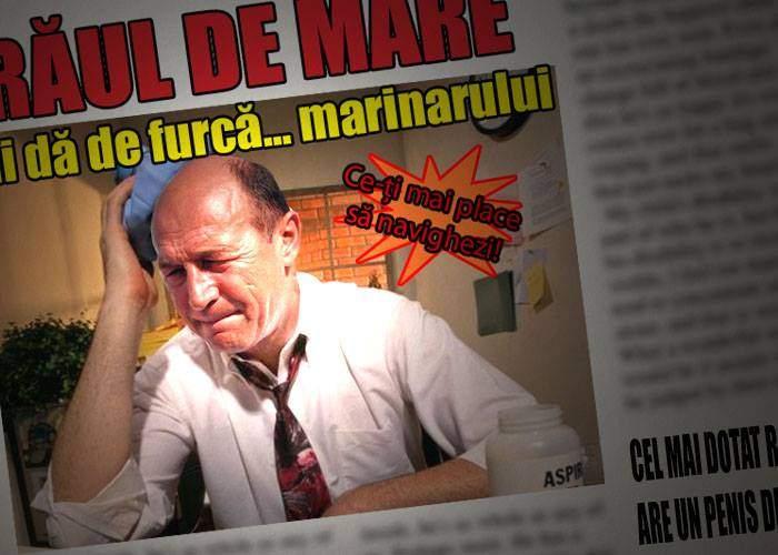 După ce-a sărbătorit ieri Ziua Marinei, Băsescu a avut azi grețuri și dureri de cap. Băse, ai rău de mare?