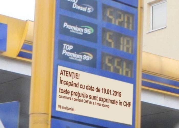 Ce dacă s-a ieftinit petrolul? Pentru profit, benzinăriile au afişat preţurile în franci elveţieni