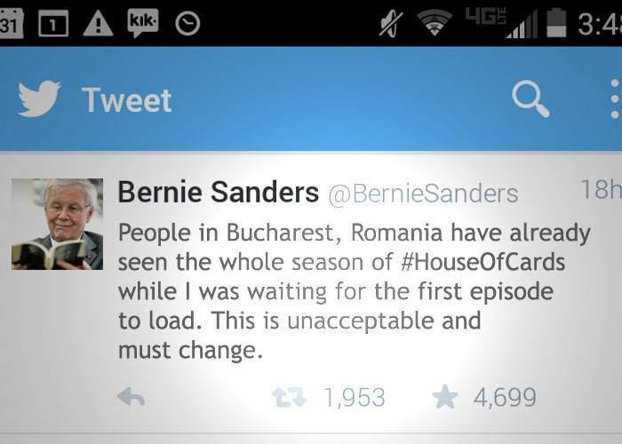 Bernie are dreptate! Cât i se încărca lui primul episod House of Cards, românii au văzut tot sezonul