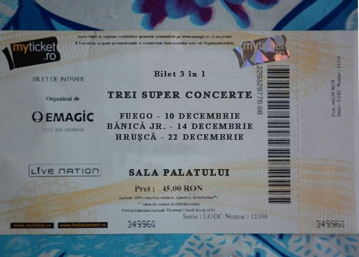 A apărut biletul unic pentru concertele Fuego, Bănică şi Hruşcă