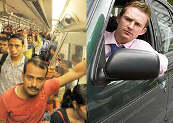 Om blocat în trafic și om înghesuit în metrou au râs azi unul de altul pe Facebook
