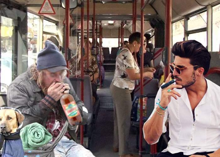 Ce ghinion! Un român a nimerit în autobuz lângă un fumător de ţigară electronică şi a fost nevoit să se mute lângă boschetar