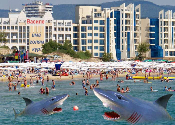 Mii de rechini de cauciuc sperie turiştii pe litoralul bulgăresc! Statul român neagă orice implicare