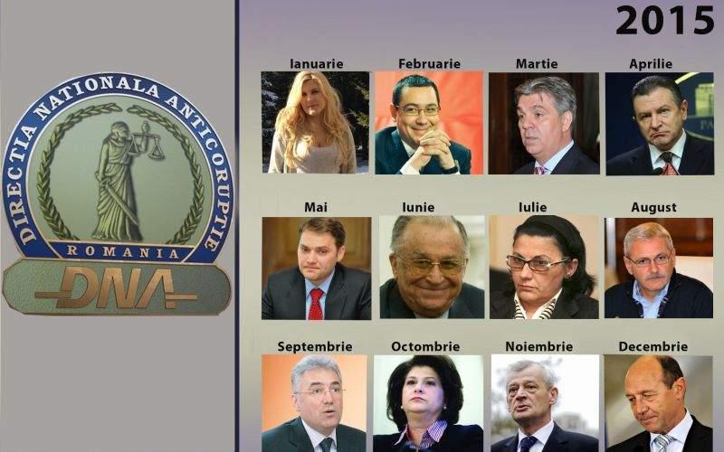 Foto! DNA a lansat calendarul pe 2015, ilustrat cu politicieni care merită anchetați și condamnați
