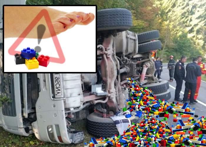 Camion cu LEGO, răsturnat într-un sat din Buzău: Jandarmeria împarte adidaşi locuitorilor afectaţi