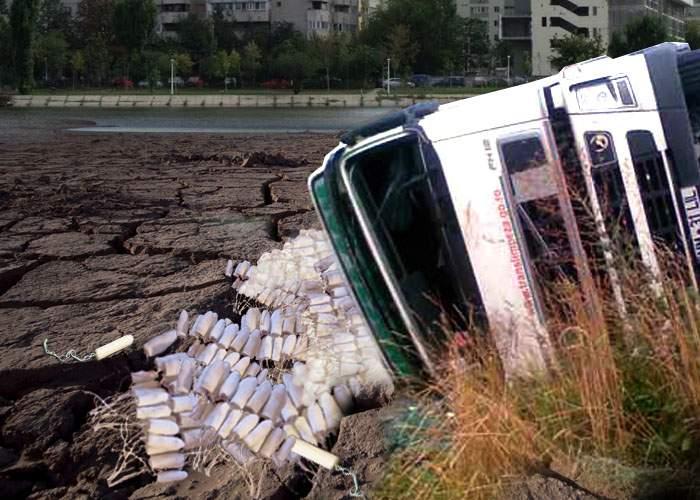 Dezastru! Lacul Plumbuita a secat după ce un camion cu tampoane s-a răsturnat în apă