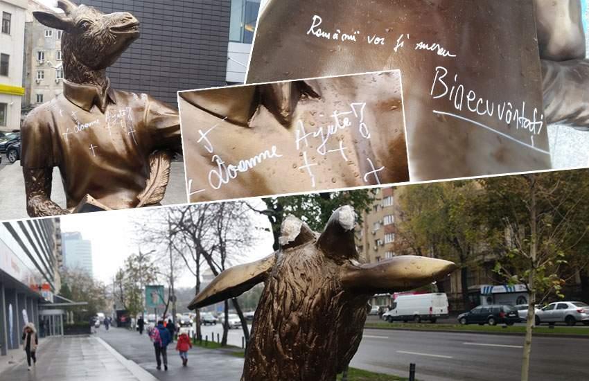 7 ipoteze oculte despre vandalizarea caprei din fața redacției TNR