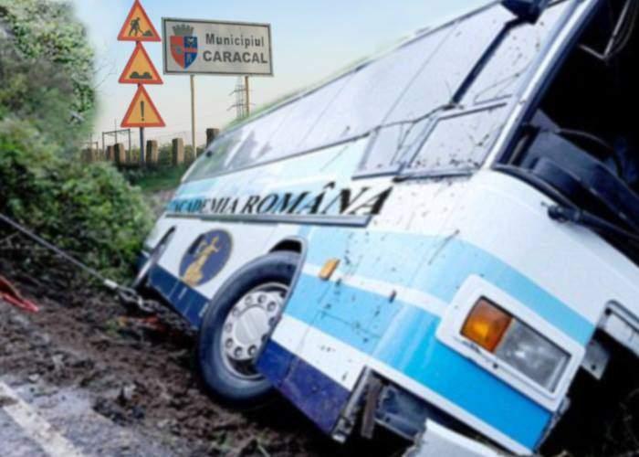 Caracalul ar putea reveni la normal! La marginea oraşului s-a răsturnat un autocar cu academicieni