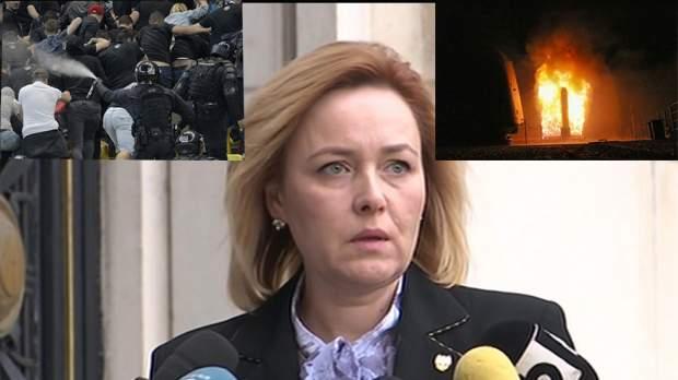 """Carmen Dan, panicată: """"Aoleo, o să ne bombardeze americanii, c-au dat jandarmii cu gaze lacrimogene!"""""""
