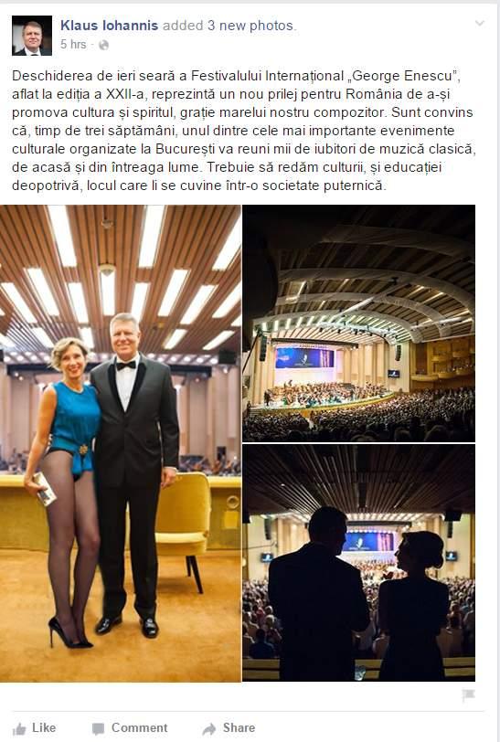 """Foto! Ca să evite discuțiile despre lungimea fustei, Carmen Iohannis a venit la """"Enescu"""" în chiloți"""