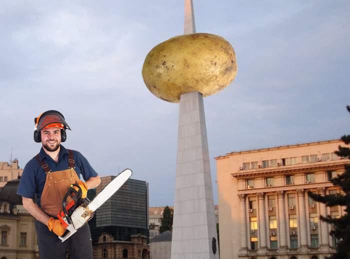 În sfârșit! Cartoful din Piața Revoluției a fost dat jos din țeapă și transformat în chipsuri