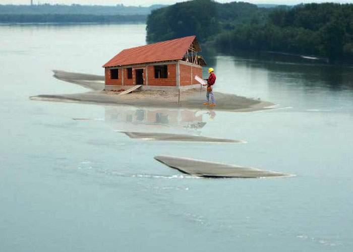 Teleormănenii profită de nivelul scăzut al Dunării: şi-au făcut case în zone şi mai inundabile