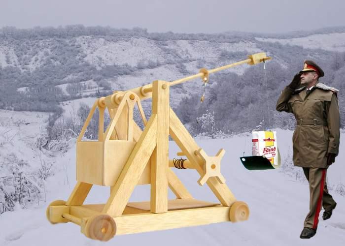 În Mizil s-au montat mai multe catapulte care vor arunca ajutoare peste nămeţi, în judeţul Buzău
