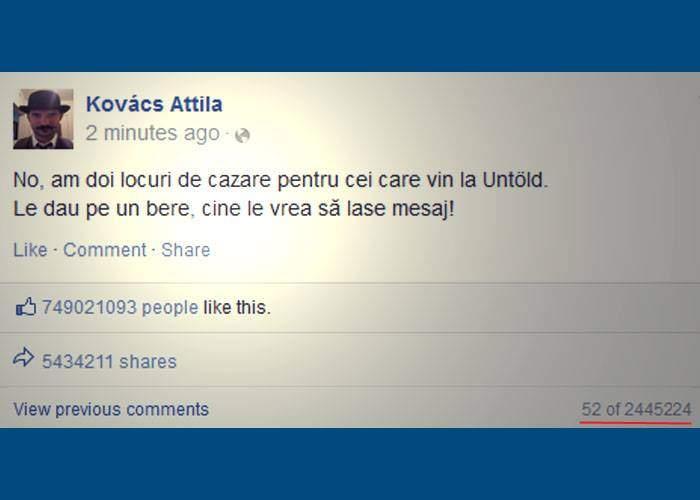 Un clujean a doborât serverele Facebook, după ce-a anunțat că are 2 locuri de cazare pentru Untold