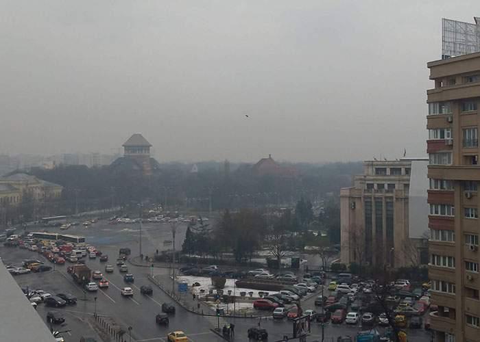 Fenomen rar! În București e atât de ceață încât nu se văd munții