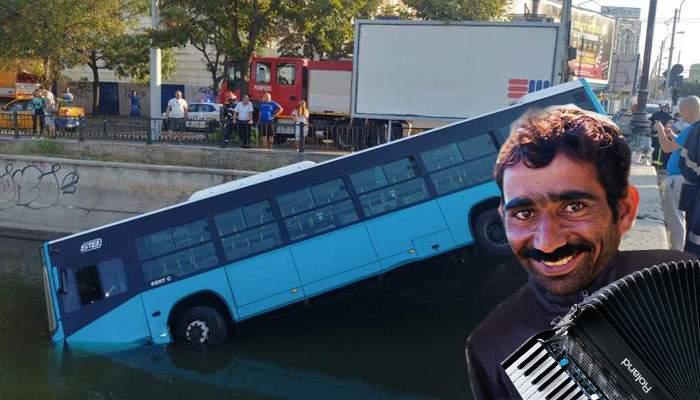Ca-n Titanic! Cerşetorul din autobuzul scufundat în Dâmboviţa a cântat până în ultima clipă