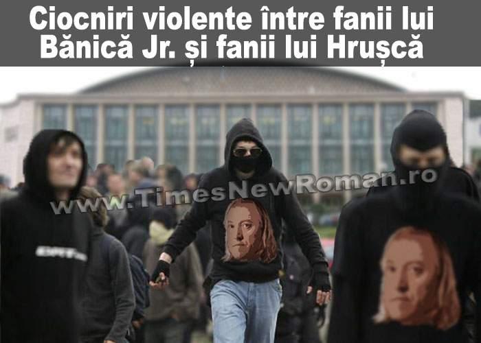 Fanii lui Ştefan Hruşcă, bătuţi măr de fanii lui Bănică jr. în faţa Sălii Palatului