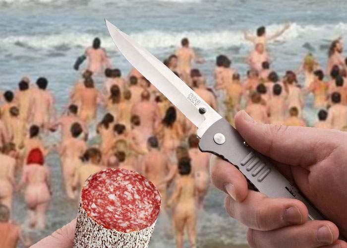 Doctorul Ciomu a creat panică pe o plajă de nudişti, după ce a scos cuţitul ca să-şi taie salam