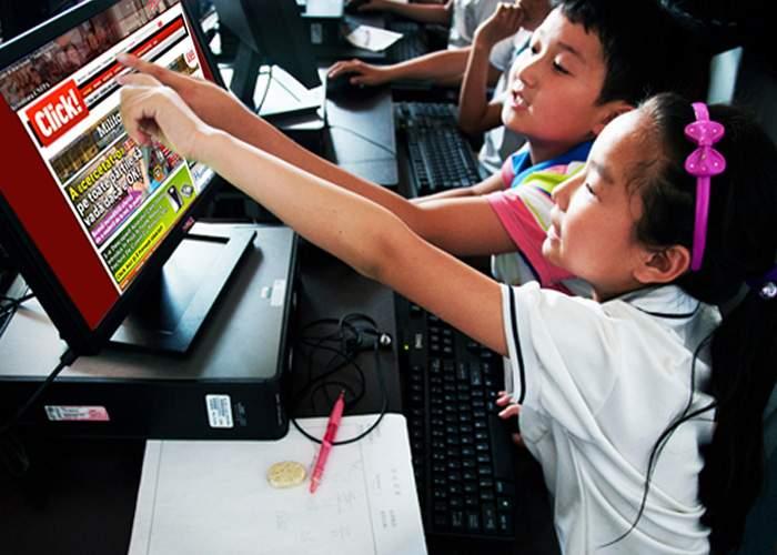 Click! exploatează copii de 8-10 ani din China, punându-i să scrie textele din ziar