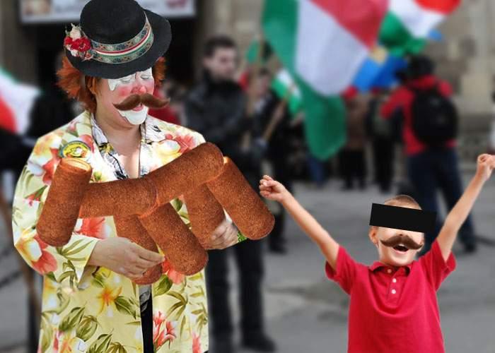 Şi copiii se bucură de ziua Ungariei! La Miercurea Ciuc, un clovn a făcut animale din kürtoş