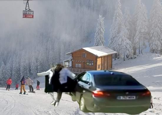 BMW lovit de telecabină pe pârtia Bradu