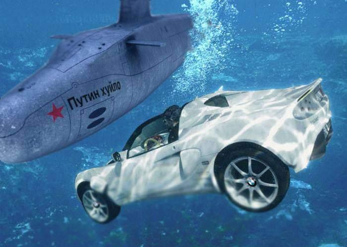 Incident internaţional. Un cocalar român a intrat cu BMW-ul în mare şi a izbit un submarin rusesc