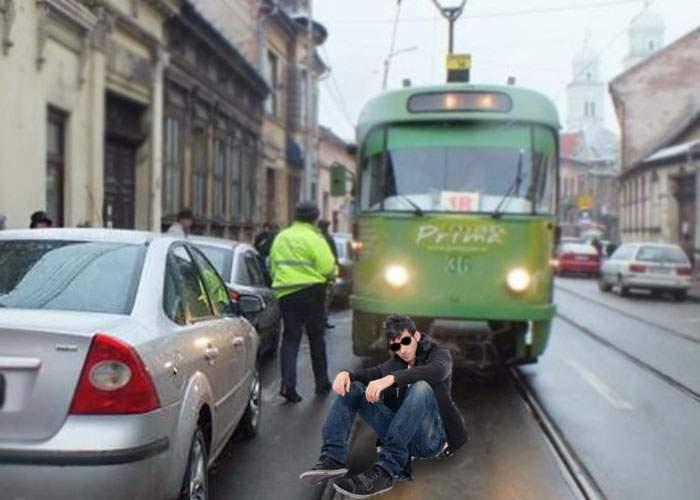 Pentru că are BMW-ul în service, un cocalar stă de 2 ore cu curul pe linia de tramvai