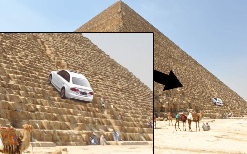 Egiptenii, scandalizați după ce un român a urcat cu BMW-ul în vârful Marii Piramide
